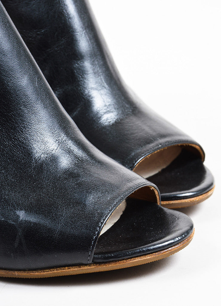 Maison Martin Margiela Black Leather Peep Toe Cut Out Ankle Boots Detail