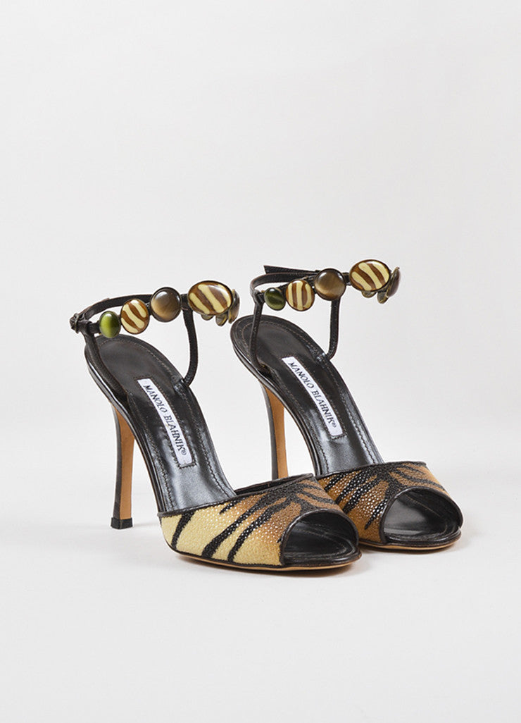 "Manolo Blahnik Tan and Brown Stingray Leather Tiger Print ""Kulupuri"" Heels Frontview"