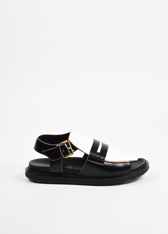 "Marni Black, White, and Gold Toned Leather Penny Loafer ""Fussbett"" Sandals Sideview"