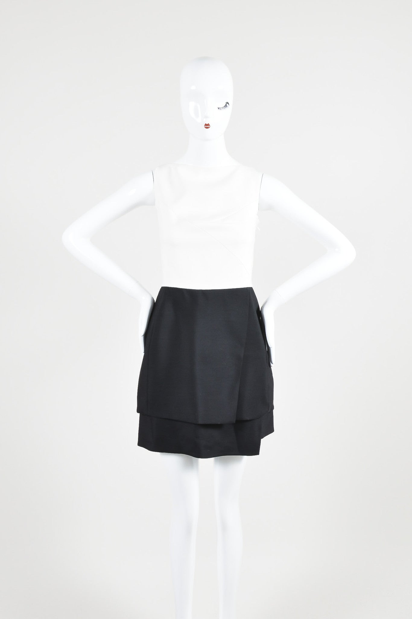 Narciso Rodriquez Black and White Wool and Silk Color Block Layered Dress Frontview