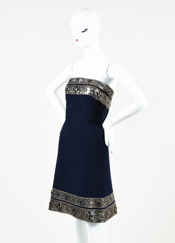 Oscar de la Renta Navy Blue Silver Wool Boucle Beaded Strapless Dress Front