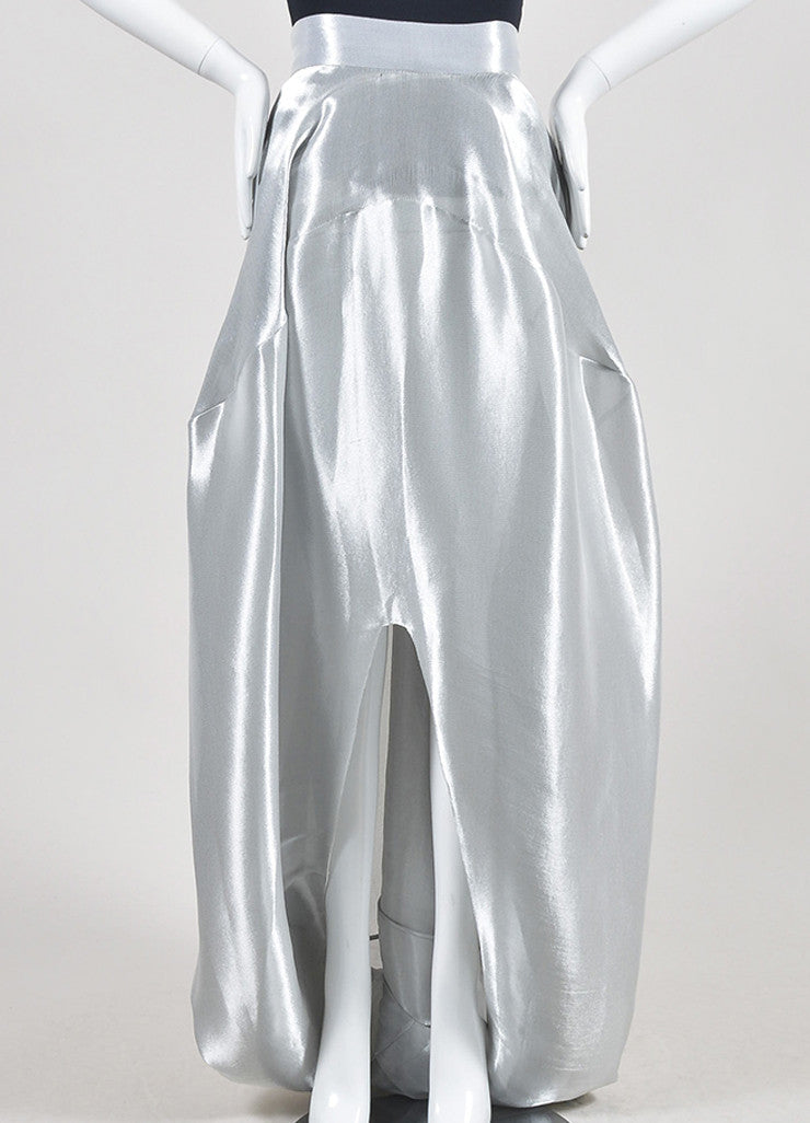 Metallic Silver 	Oscar de la Renta Lame Bubble Train Maxi Skirt Frontview