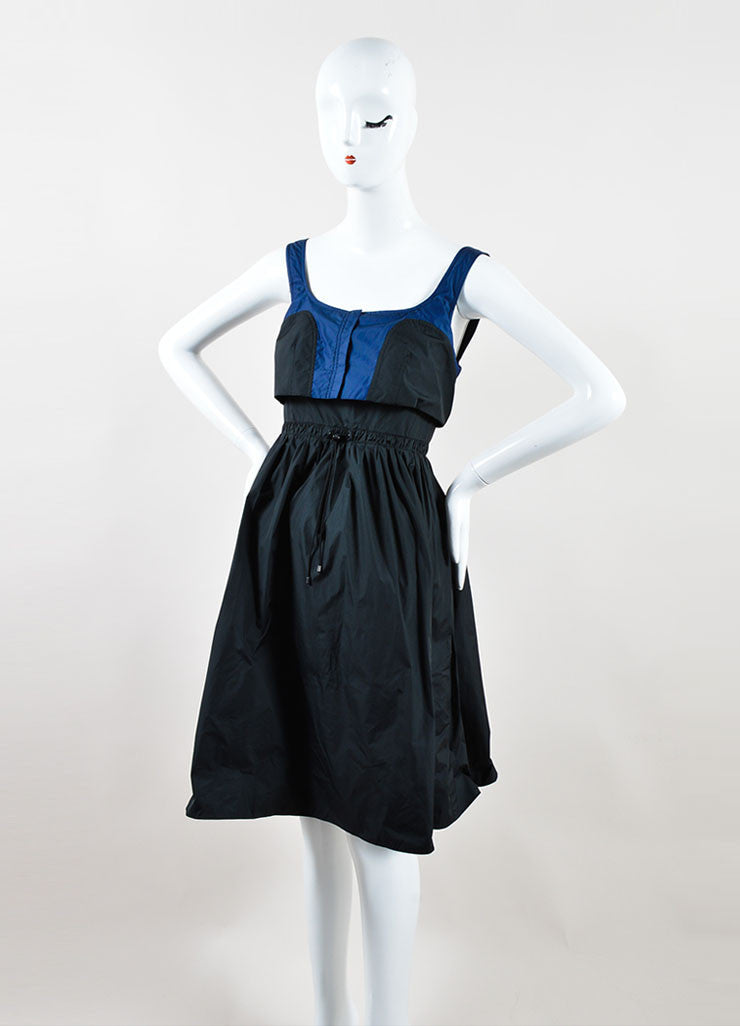 Black and Navy Color Block Proenza Schouler A-Line Sleeveless Dress Sideview