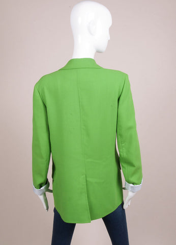 Reed Krakoff New With Tags Green Wool Crepe Long Blazer Jacket Backview