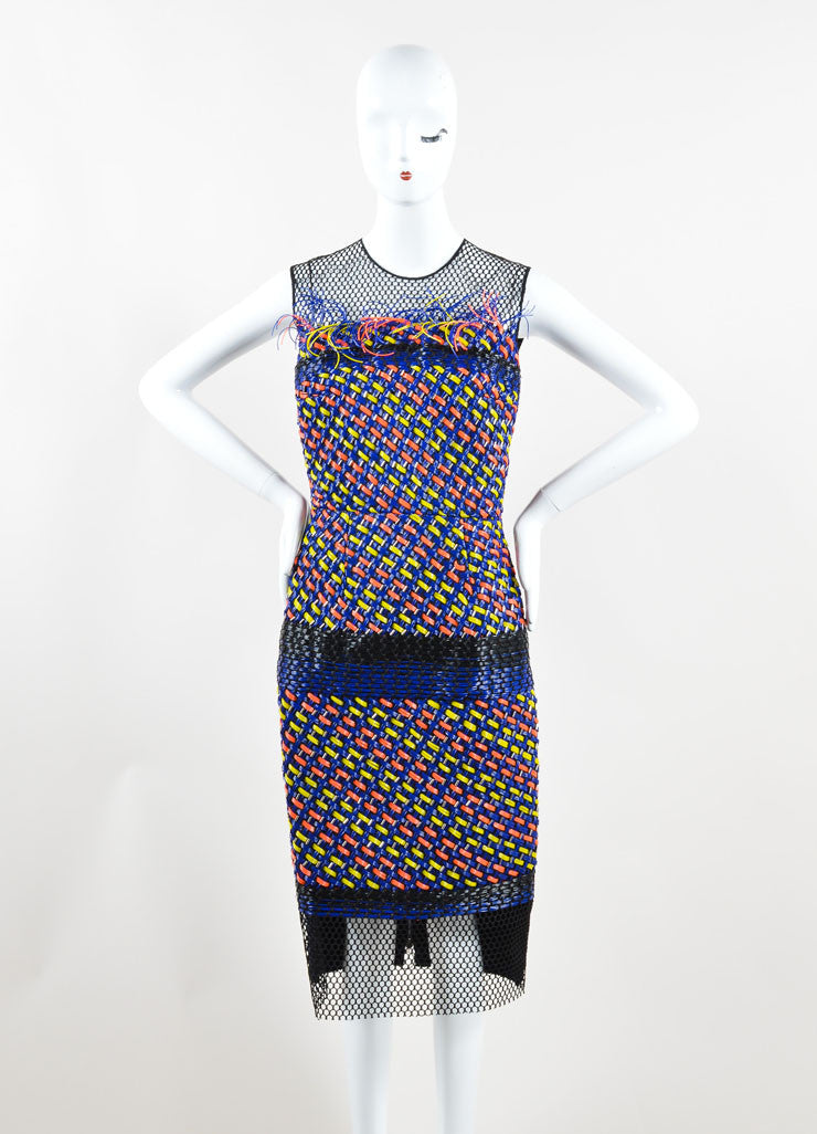 "MOksanda Blue, Yellow, and Coral Woven Plastic Mesh ""Valetta"" Dress Frontview"