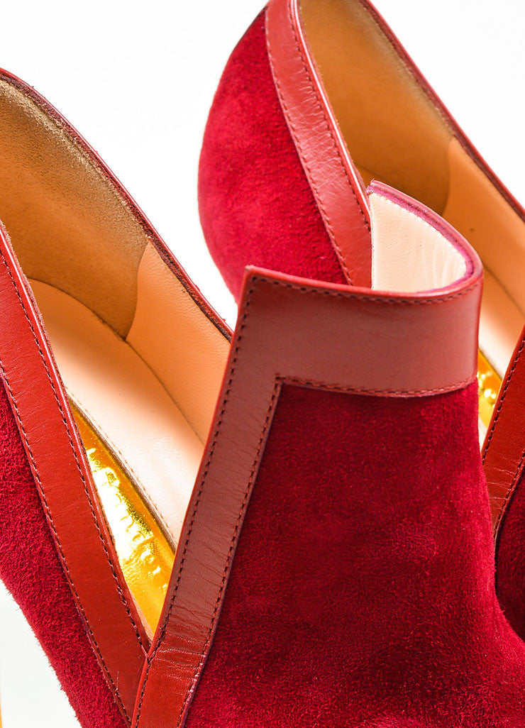 "Red Rupert Sanderson Suede Point Toe ""Rima"" Heeled Booties Detail"
