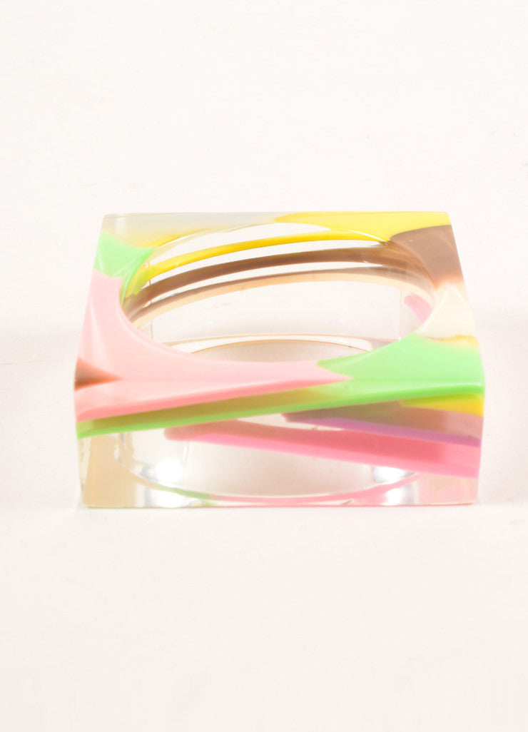 Sobral Multicolor Pastel Resin Square Bangle Bracelet Brand
