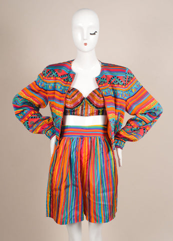 Bob Mackie Multicolor Printed Three Piece Silk Set Frontview