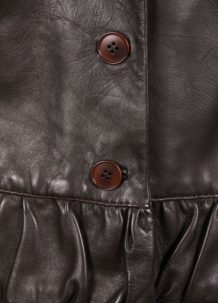 Valentino Brown Bottom Ruffle Leather Jacket Detail