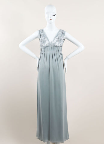 Valentino Mint Blue Silky Sheer Lace Sequin Embellished Sleeveless Gown Frontview