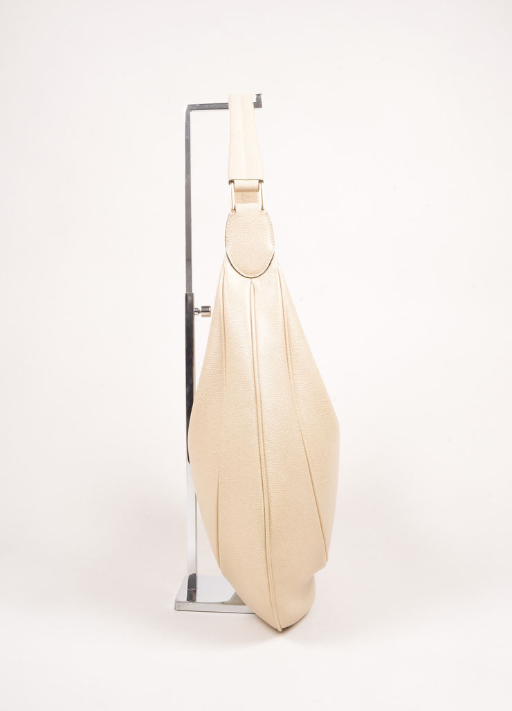 Valextra Beige Grain Leather Hobo Shoulder Bag Sideview
