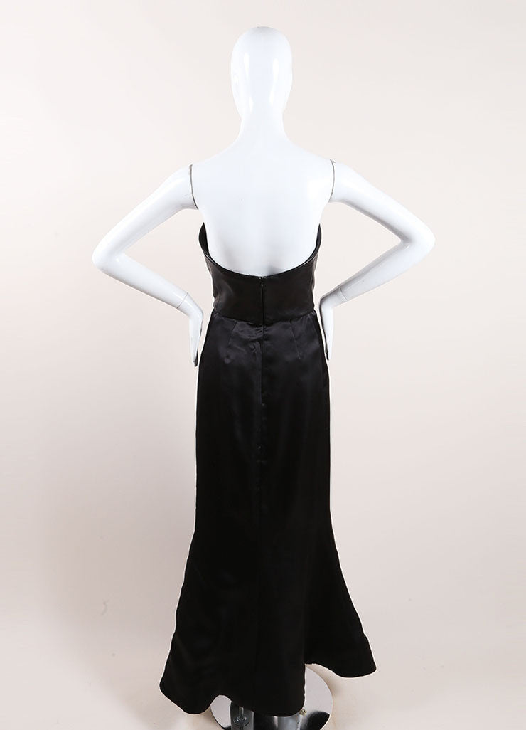 Vera Wang Black Leather and Taffeta Strapless Gown Back