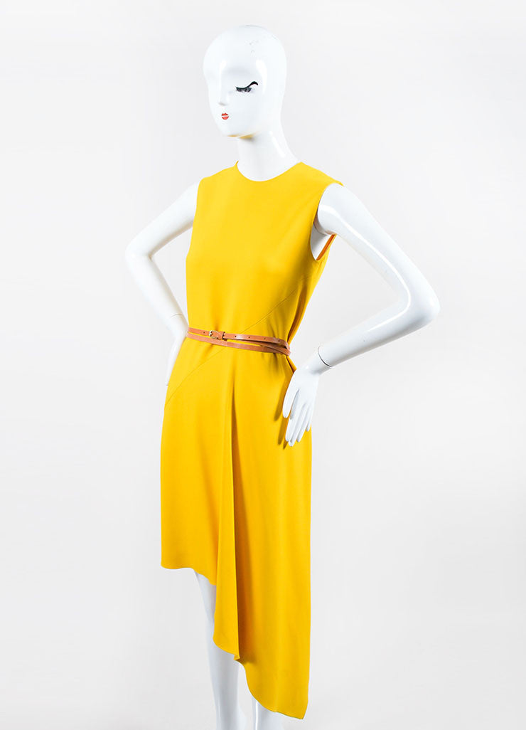 Canary Yellow Victoria Beckham Crepe Belted Sleeveless Swing Drape Dress Sideview