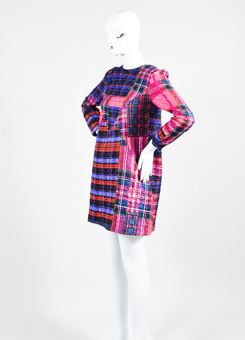 Multicolor Victoria Victoria Beckham Plaid Crinkle Shift Dress Sideview