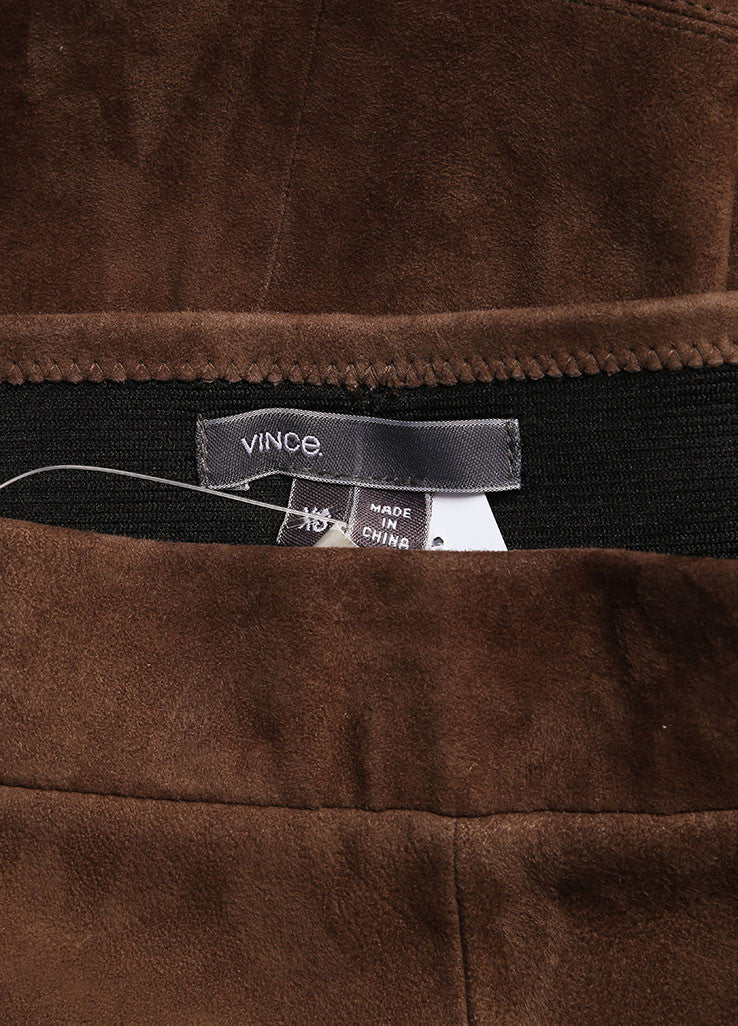 Vince Brown Paneled Suede Leather Leggings Brand
