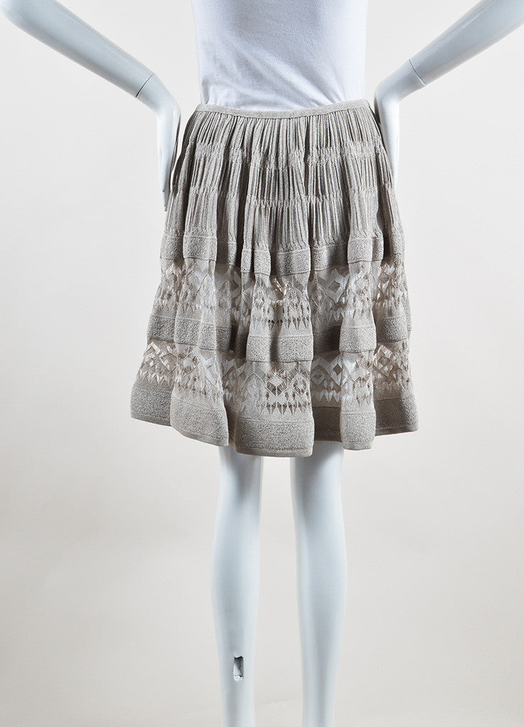 Alaia Silver Metallic Crochet Semi Sheer Ruched A-Line Skirt Backview
