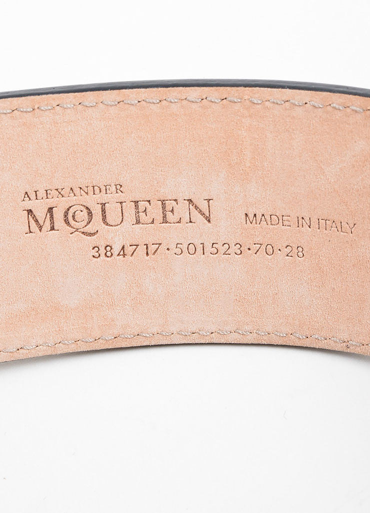 Black Alexander McQueen Leather Enamel Plate Waist Belt Brand