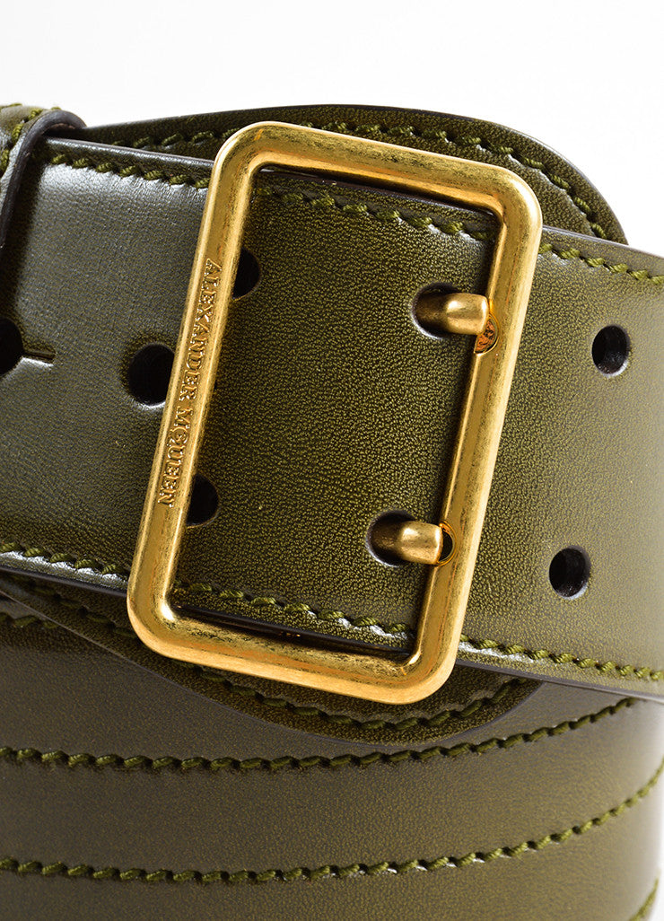 Alexander McQueen Olive Green Leather Stitched Wide Waist Belt Detail