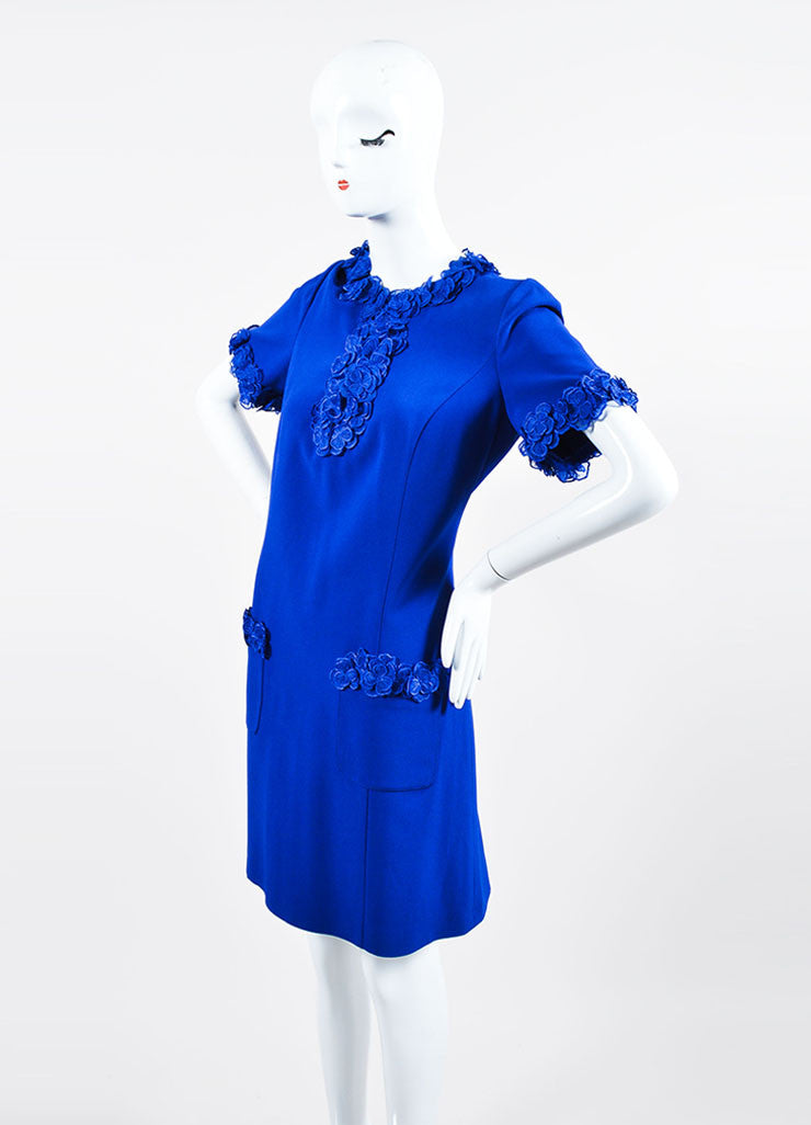 Royal Blue Andrew Gn Floral Embellished Short Sleeve Shift Dress Sideview