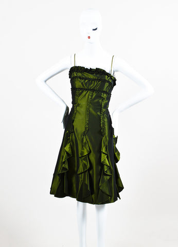 Badgley Mischka Green Ruffle A Line Strapless Cocktail Dress Frontview