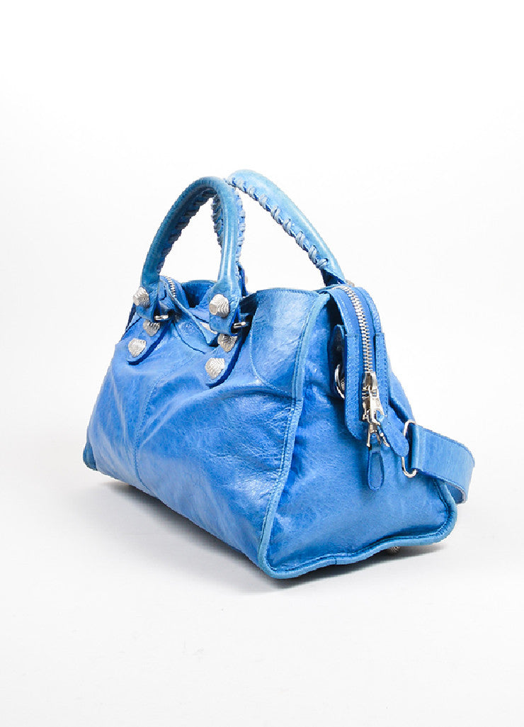 "Blue Balenciaga Leather ""Giant Part Time"" Satchel Bag Sideview"