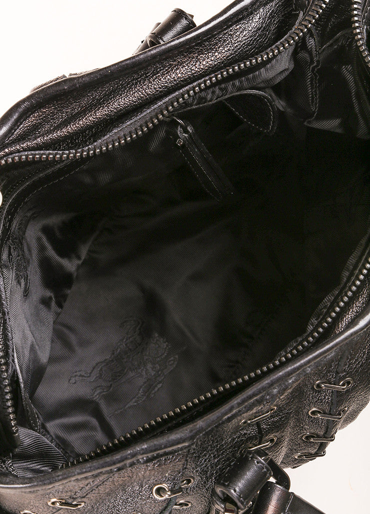Burberry Black Grain Leather Grommet Staple Link Handbag Interior