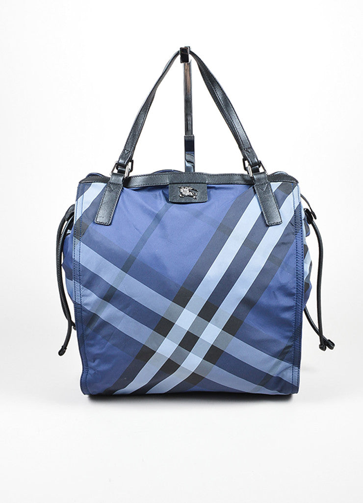 "Burberry Prorsum Blue Plaid ""Check Packable"" Tote Bag Frontview"