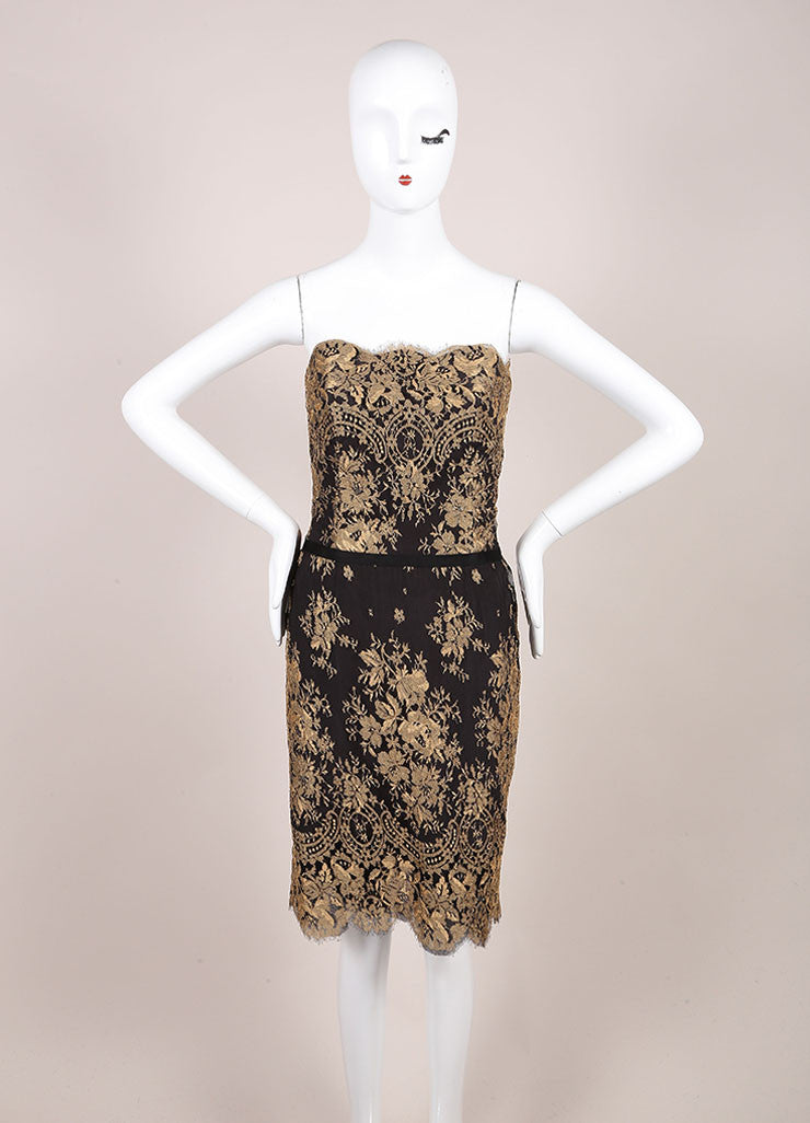Carolina Herrera New With Tags Black and Gold Lace Strapless Dress Frontview