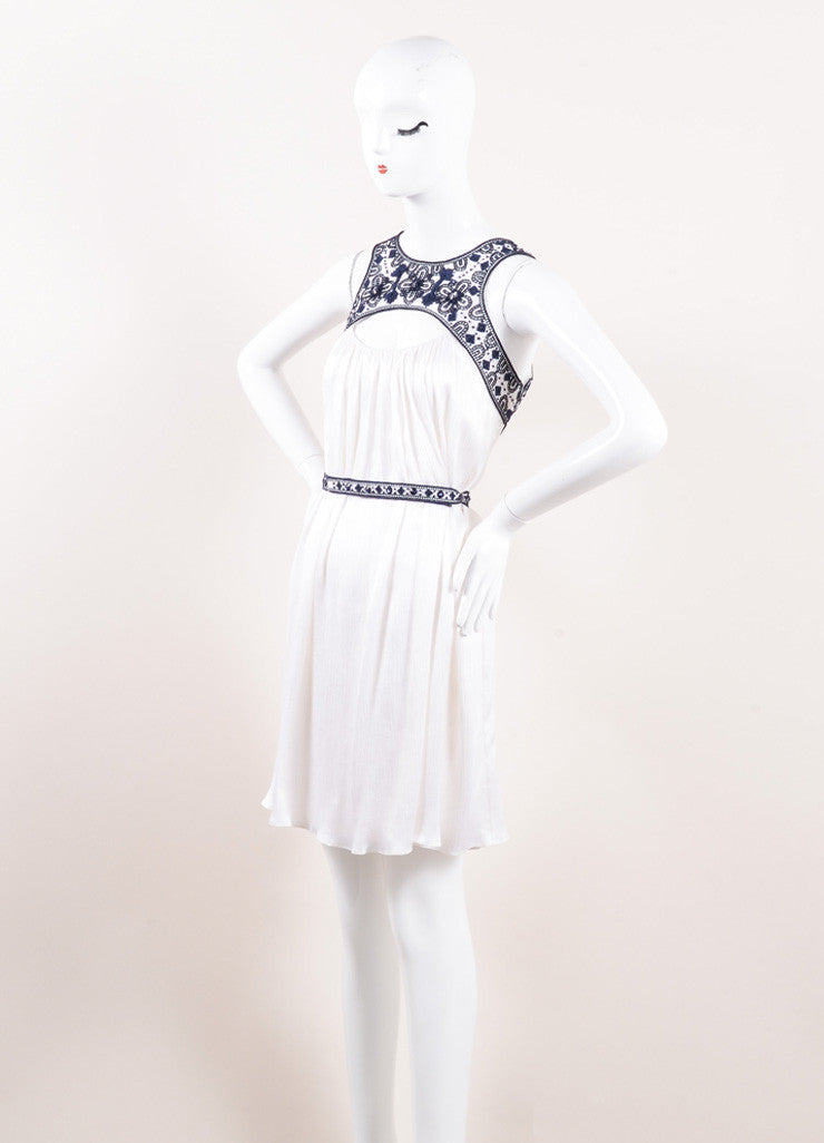 Carolina Herrera White and Navy Blue Embroidered Belted Sleeveless Dress Sideview