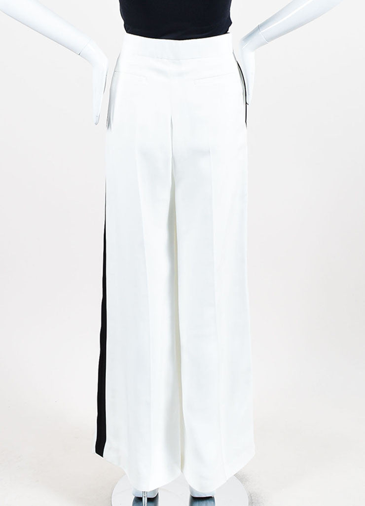 Celine White and Black Stripe Detail Wide Leg Pants Backview