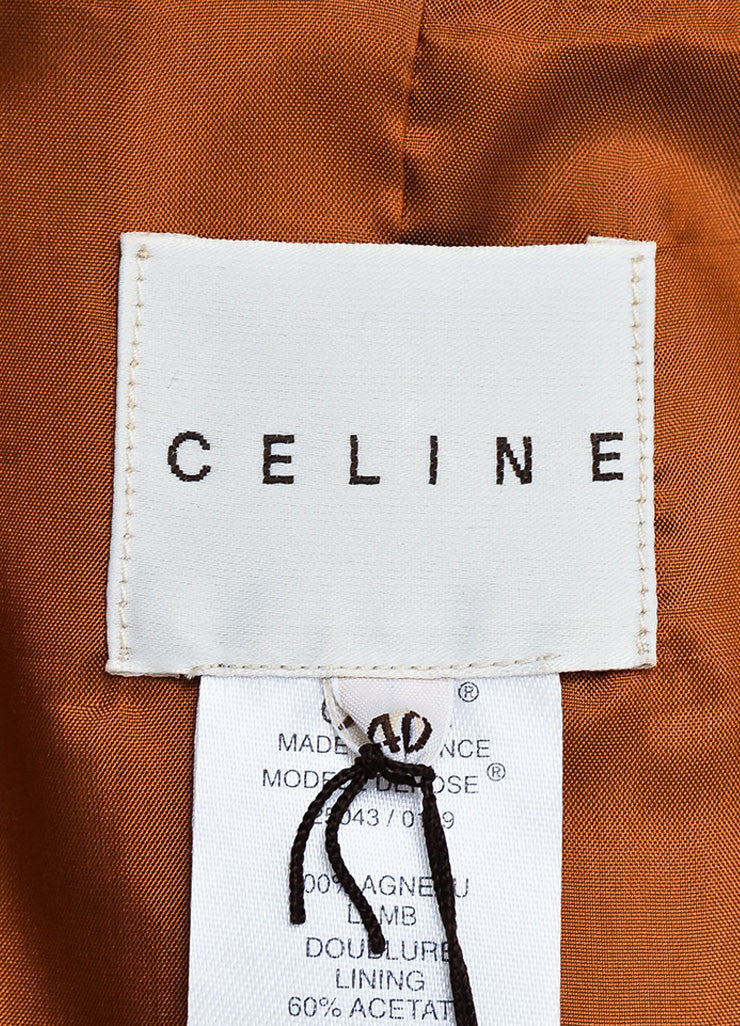 Celine Brown Pebbled Lamb Leather Silver Toned Belted Biker Jacket Brand