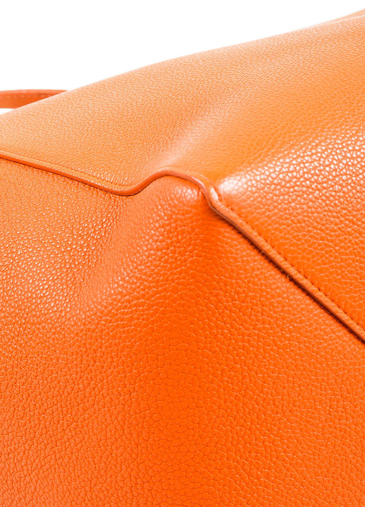 "Celine Orange Pebbled Leather Small ""Phantom Cabas"" Tie Tote Bag Detail"