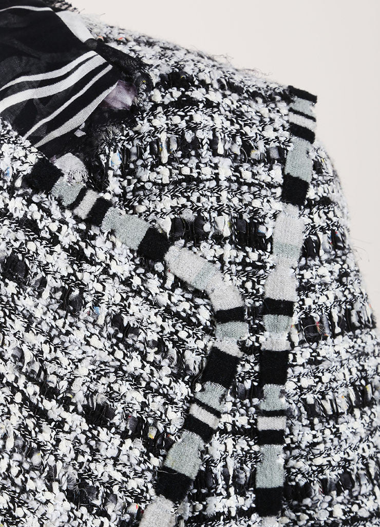 "Chanel Black and White Cotton, Silk, and Wool Tweed ""CC"" Button Jacket Detail"