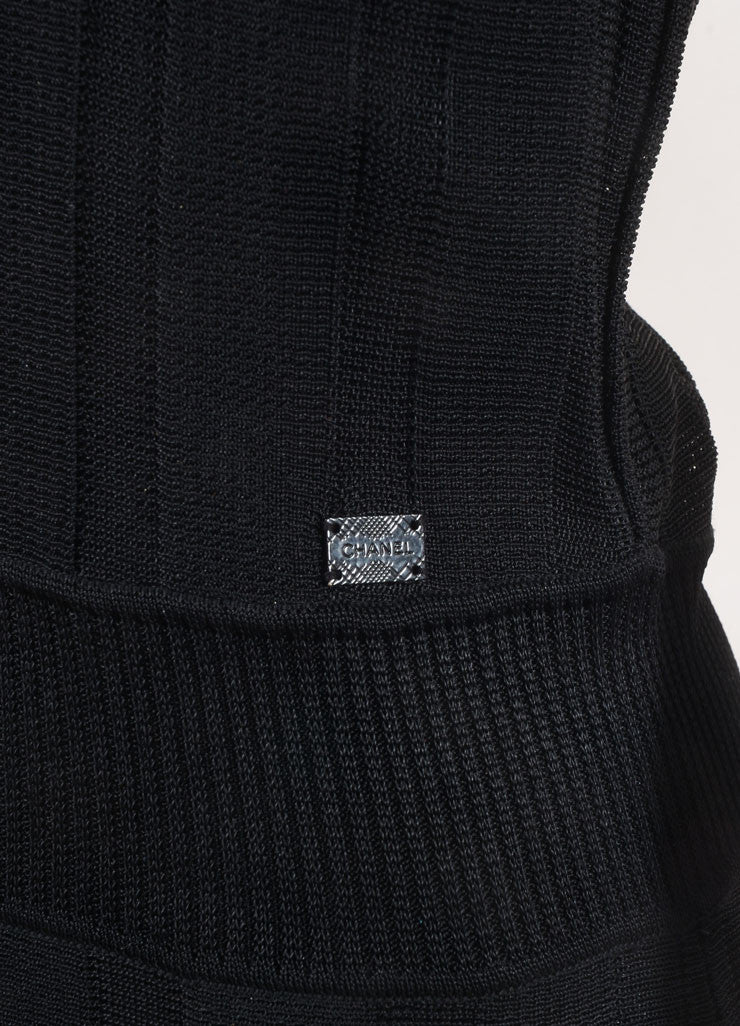 Chanel Black Textured Ribbed Knit Eyelet Pleated Sleeveless Dress Detail