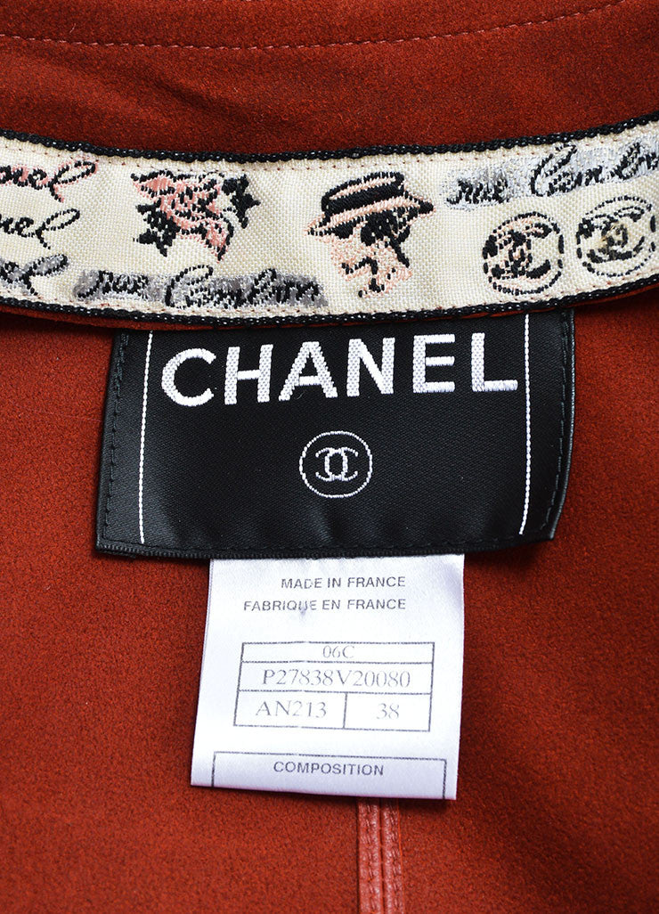 Chanel Dark Red Leather Button Up Crop Sleeve Blazer Brand