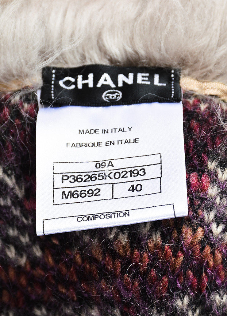 Chanel Multicolor Wool Mohair Cashmere Lamb Trim Long Sweater Coat Brand