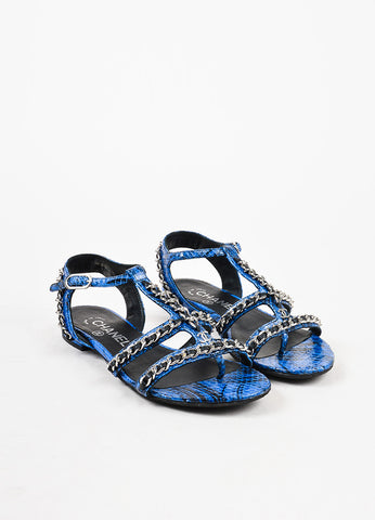 Chanel Blue and Black Python Leather Silver Toned Chain Link Sandal  Frontview