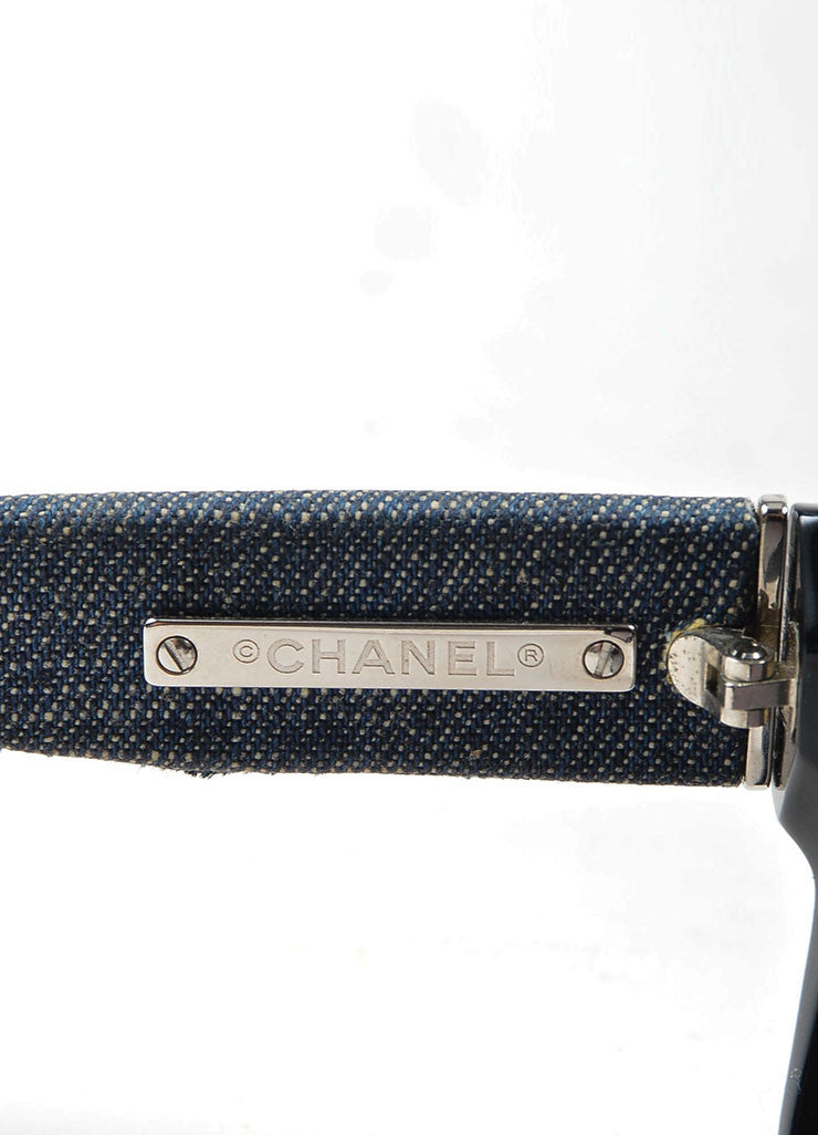 Black and Denim Chanel Silver Toned 'CC' Wayfarer Sunglasses Brand