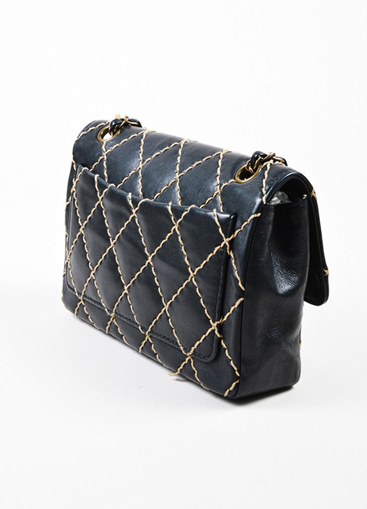 "Chanel Black Quilted Leather Chain Strap ""Wild Stitch Medium Flap"" Bag Sideview"