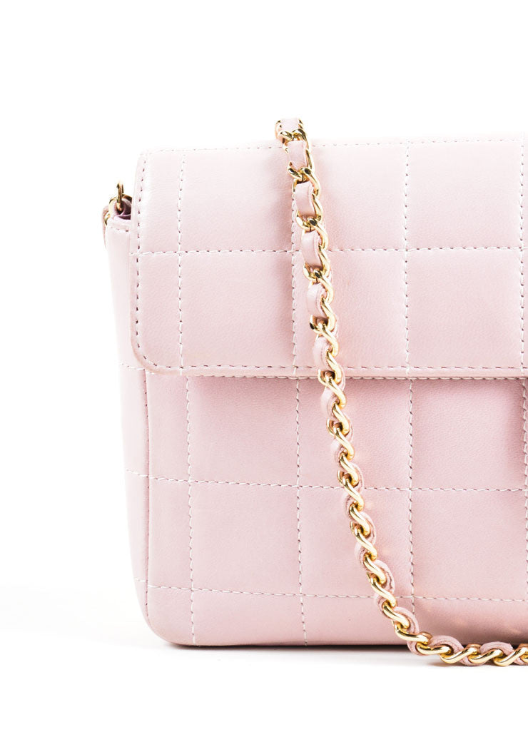 "Chanel Pink Square Quilted Leather ""Chocolate Bar"" Shoulder Flap Bag Detail 2"