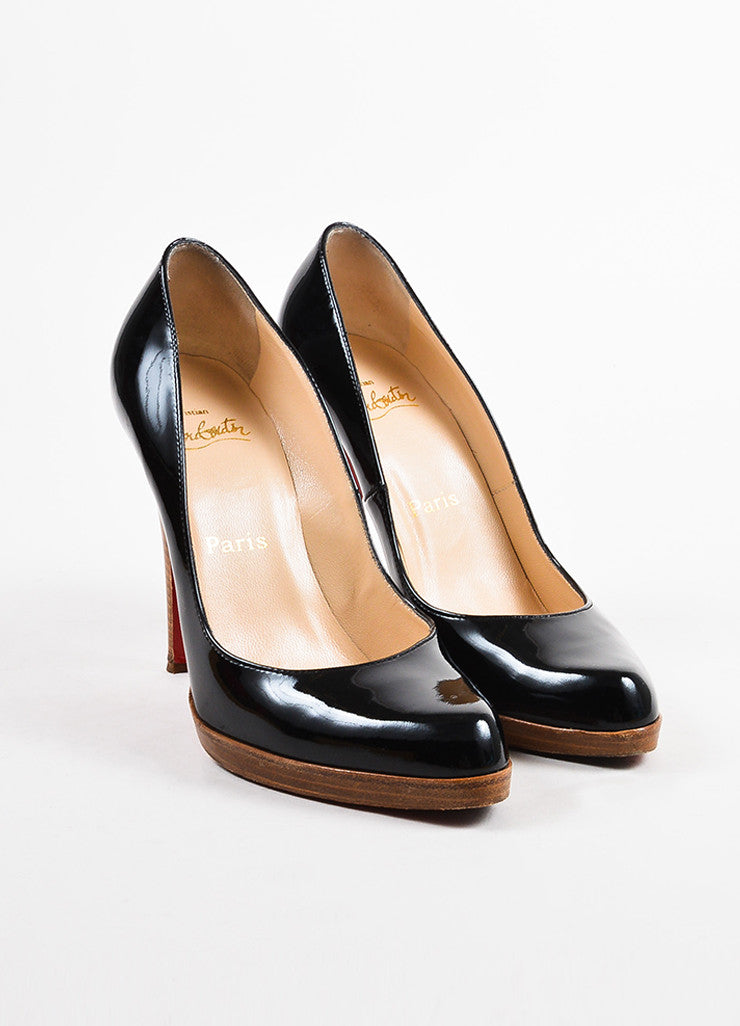 "Christian Louboutin Black Patent Leather ""Decollete 868 Zeppa"" Pumps Frontview"