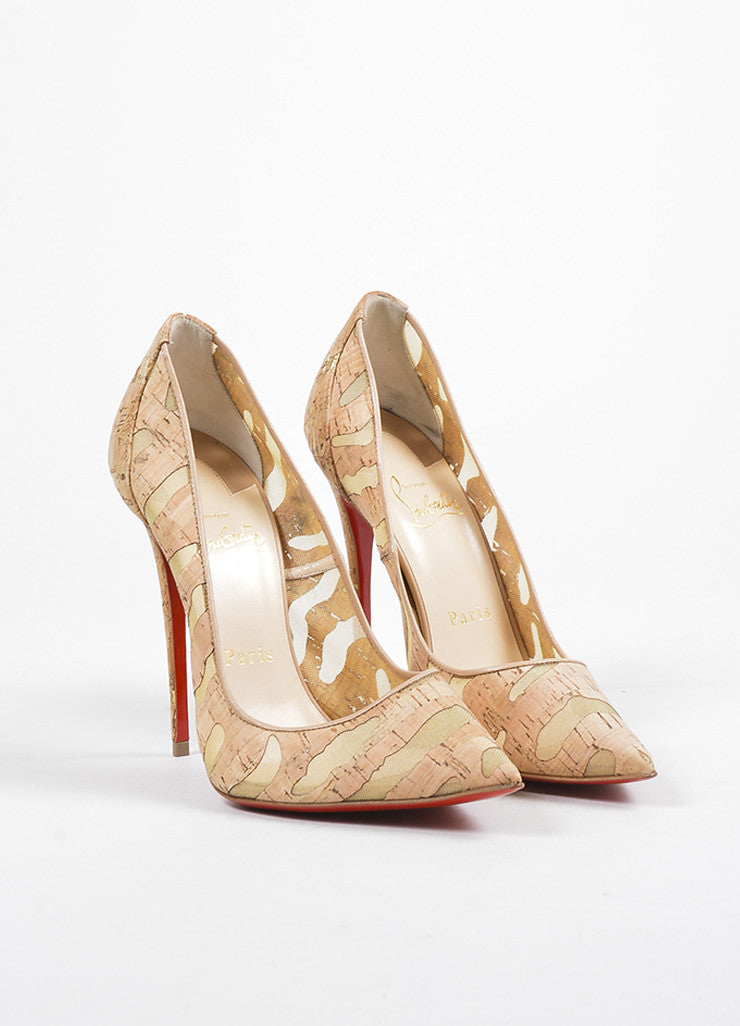 "Christian Louboutin Tan Cork ""So Kate 120"" Pointed Toe Pumps Frontview"