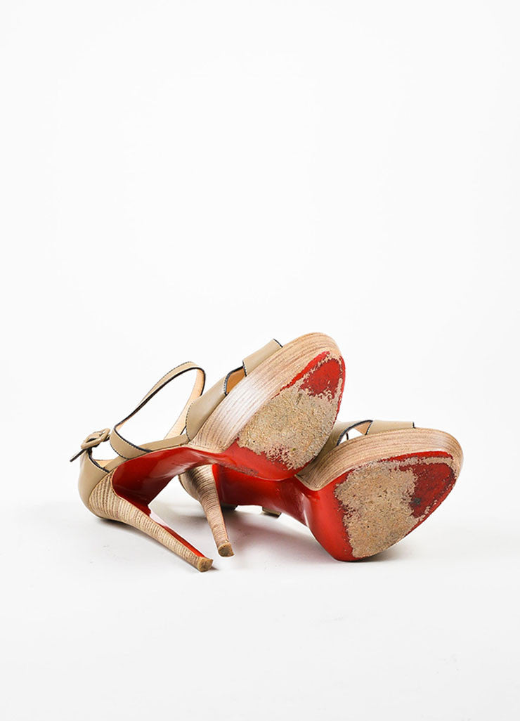 "Christian Louboutin Taupe Leather ""Sporting 140"" Ankle Strap Sandals Outsoles"
