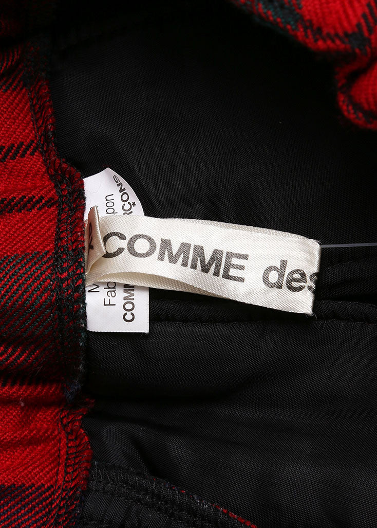 Comme des Garcons Red, Green, and Multicolor Wool Plaid Padded Full Skirt Brand