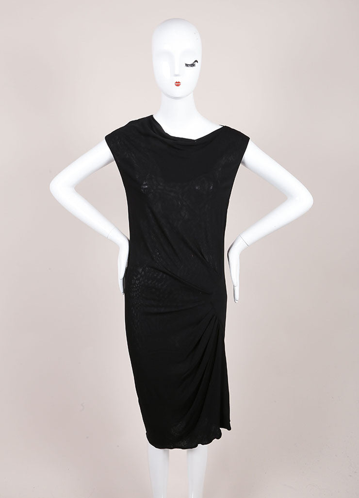 Derek Lam Black Drape Sleeveless Dress Frontview