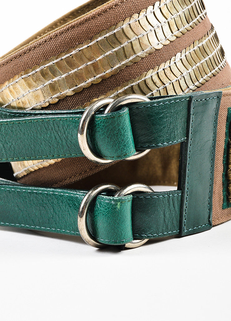 Dries Van Noten Brown and Green Canvas Leather Mixed Metal Stone Waist Belt Detail