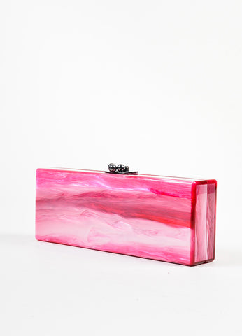 Edie Parker Pink, Gold, and Red Acrylic Embroidered Marble Mirrored Box Clutch Bag Sideview