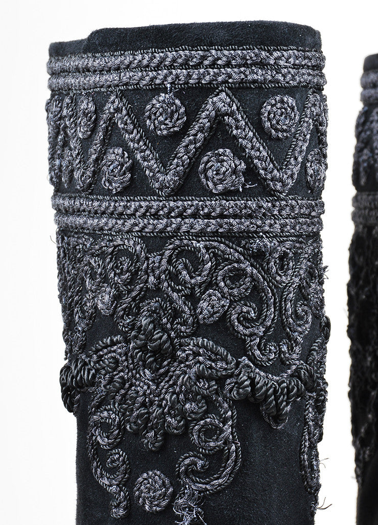 Black Etro Suede Embroidered Knee High Block Heel Boots Detail
