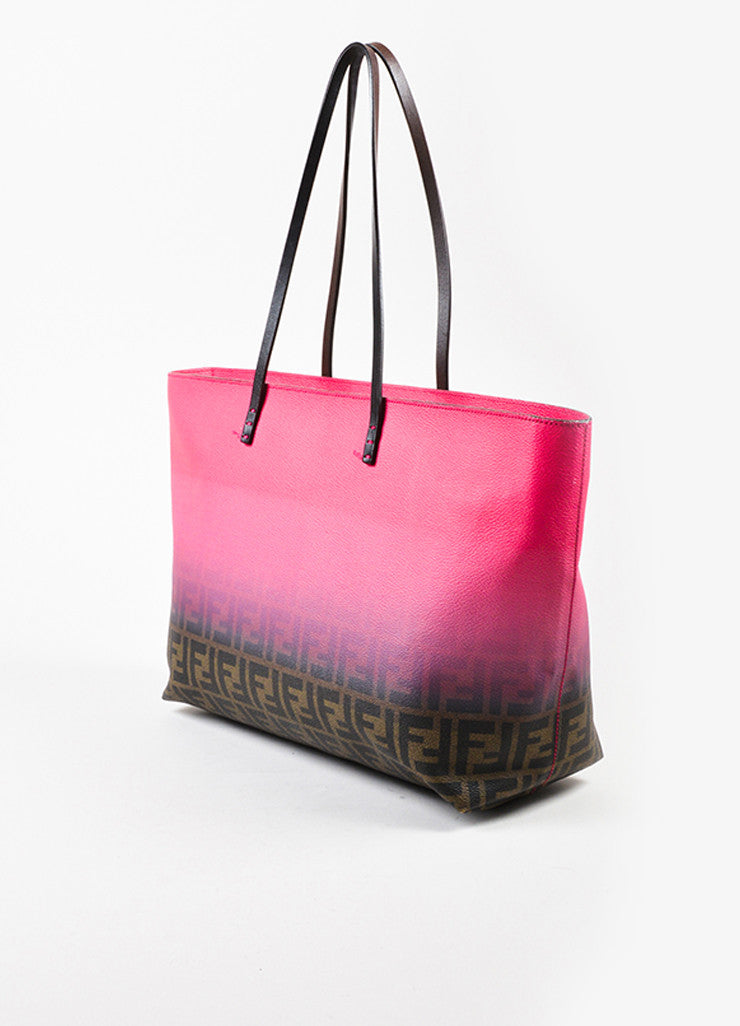 "Fendi Pink and Brown Coated Canvas ""Zucca"" Monogram Ombre Tote Bag Sideview"
