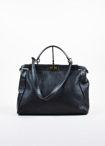 "Fendi Black Leather ""Large Peekaboo"" Dual Compartment Shoulder Bag Frontview"